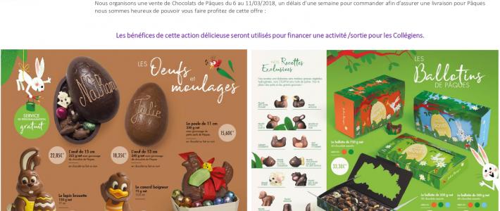 CHOCOLATS JEFF DE BRUGES pour financer sortie aux Collégiens